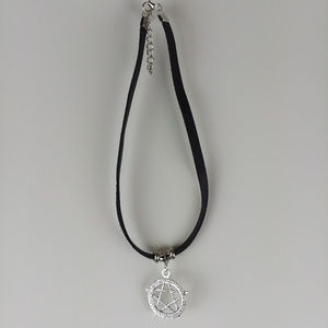 Leather Choker Necklace Pentagram Pentacle Pendant